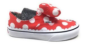 Vans Girls Authentic Slip On Sneakers minnie Mouse Bow Red Size 1 K
