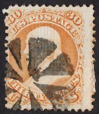 """US # 100 USED { """"F GRILL 30c FRANKLIN } FANCY CANCEL """"SCARCE OF 1867 CV$ 950.00"""