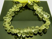 "Genuine Lemon Quartz Faceted Briolette Teardrop 9mm Gemstone Beads 8"" Strand"
