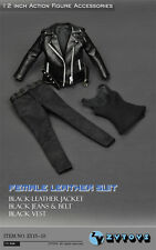"""12"""" Figure Model Clothes 1/6 ZY Toy Female Black Gangsta Girl Women Leather Suit"""