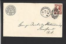 PROVIDENCE,RHODE ISLAND COVER,1884. #210. DUPLEX A and TIME in BOTTOM.