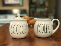 Rae Dunn SCOOP Sugar Bowl and POUR Creamer Set