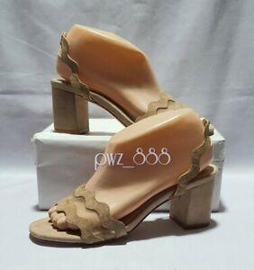 PRADA Light Brown Suede Block Heels Shoes Size 36