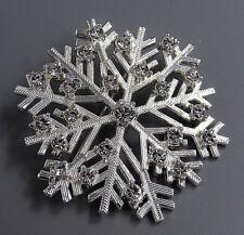 Vintage Jewelry Open Silver Crystal Snowflake BROOCH PIN Rhinestone Lot U