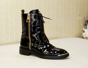 1800$ LOUIS VUITTON Macadam Ranger black leather lace up combat boots 40 us9 uk7