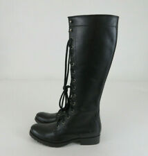 Frye Melissa Tall Lace Up Zip Black Leather Combat Riding Boots Womens Size 7 B