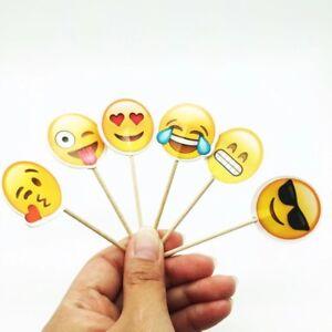 PIC A GATEAU EMOJI SMILEY X12 DÉCORATION CUPCAKE DESSERT ANNIVERSAIRE ENFANT