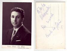 LA GORIO Paolo, autografo del tenore sul verso di foto-cartolina in b/n