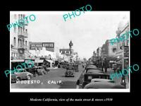 OLD LARGE HISTORIC PHOTO OF MODESTO CALIFORNIA, THE MAIN St & STORES c1930