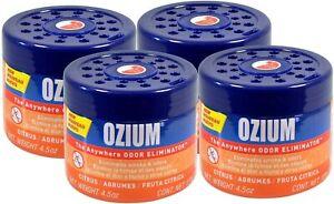 Ozium Gel Smoke & Odors Eliminator Car Air Freshener, Citrus (4-PACK)