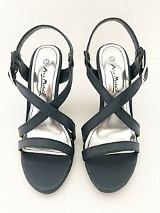 New Ladies Anne Michelle Navy Blue Silver Buckle Heeled Sandal UK Size 4