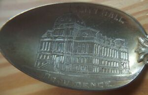 Providence RI City Hall Sterling Silver Engraved Collector's Spoon 1890s CB&H