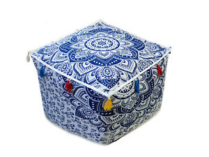 """18X18X14"""" Square Ottoman Pouf Cover Indian Blue Ombre Mandala Footstool Covers"""