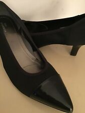 Ros Hommerson black leather canvas kitten heel shoes US size 9 wide