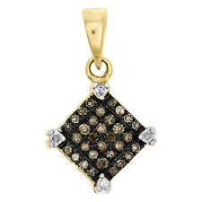 Champagne Brown Diamond Square Pendant 10K Yellow Gold 0.15 CT Charm