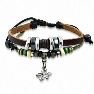 Bracelet Fantasy Brown Leather With Charm Pearl Wood Of Key Greek