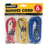 6 x Bungee Cords Various Sizes & Colours Car Bike Elasticated Luggage Straps