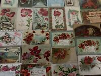 Pretty~ Lot of 25 POPPIES ANTIQUE POPPY FLOWERS floral GREETINGS POSTCARDS-c174