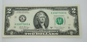 2 Dollar Bill Fancy serial Number K 030770003 A $2 Two 97.3% very cool