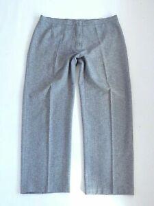 Women's Vintage High Waist Stretch Grey Polyester Trousers Pants Size W35 L30