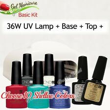 GEL MANICURE BASIC GIFT KIT: 36W UV LAMP Pro+Base Top +10 CND Shellac Colors SET