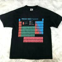 2002 Mens Adult Large Periodic Table Tee T-Shirt Black Science FLAWS