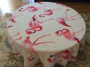 "Fashion Pink Flamingo 60"" Beach Towel/ Tablecloth Fringe Microfiber"