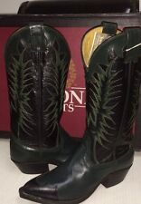 Nocona Western  Leather Boots Women's 8155 Black with Green  Size 4 B NEW