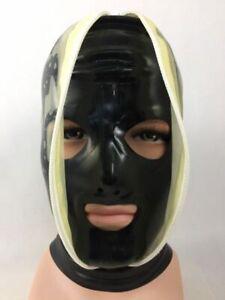 100% Latex Rubber Black & Clear Hood Anti-Clip Hair Headpiece Zip 0.4MM S-XXL