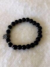 Natural black 8mm onyx gemstone stretch bracelet with lion charm and rhinestone