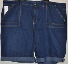 Gloria Vanderbilt Women's Plus Denim Slimming Roll cuff Bermuda Shorts Size 24W