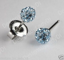 Ear Piercing Earrings Studs 4.5mm Fireball Aqua Crystal Silver Studex System 75