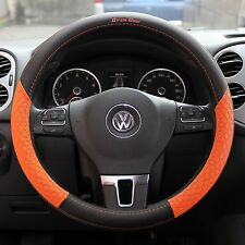 Black+Orange PVC Leather Steering Wheel Cover Chevy Dodge Chrysler Non-Slip 38cm