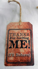 Enamelled Metal Gift Tag / Wine Bottle Tag - Thanks for Inviting Me