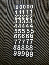 """50 X 2"""" (50mm) high White Sticky VInyl Numbers, 0-9 5 of each number, menus"""