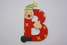 Lettre prenom de porte clown en bois B rouge, décoration de porte **
