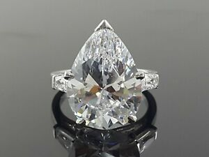 925 Sterling Silver Ring 5ct White Pear Baguette Three Stone Solitaire CZ Size 7