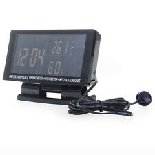 Auto Voltage Monitor LCD Digital Car F/C Thermometer Hygrometer Clock Black