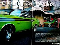 "1971 Dodge Challenger & Chevy Vega Goodyear 2 page Original Print Ad 9 x 11"""