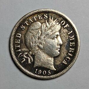 1905-O Micro O Barber Silver Dime 171302p