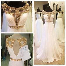 Maßgeschneidert weiß Chiffon Perlen Brautkleider Hochzeitskleid Abendkleid