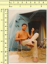 Shirtless Man in Chair Guy in Front of Tent Camping vintage photo old original