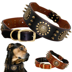 Leather Dog Collar for Big Dogs Adjustable Pet Dog Walking Collar for Boxer L XL