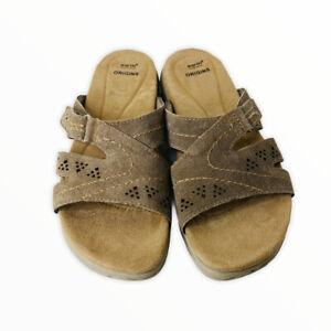 Earth Origins Women Tan Brown Suede Slingback Versatile Adjustable Sandals NEW