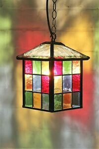 Ceiling Light Vintage English Stained Glass Leaded Porch Pendant Antique Style