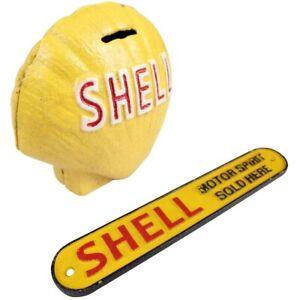 Shell Oil Logo Set - 1x Small Sign 1x Clamshell Money Box Coin Bank - Cast Iron