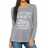 Women Country Music And Beer Blouse Casual Tee Long Sleeve Top Raglan T-Shirt