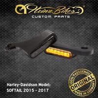 HeinzBikes LED Blinker Lenker Harley Softail Fat Boy 2015 - 2017 Schwarz