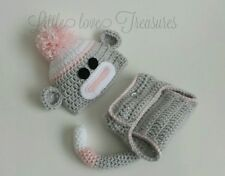 Newborn Baby Girl Sock Monkey Hat and Diaper Cover Crochet Photo Prop Outfits