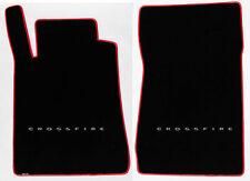 NEW! Black Front floor mats 2004-2008 Chrysler CROSSFIRE Silver Logo Red Binding